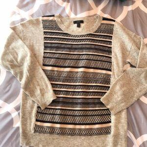 J Crew wool blend striped crew neck sweater